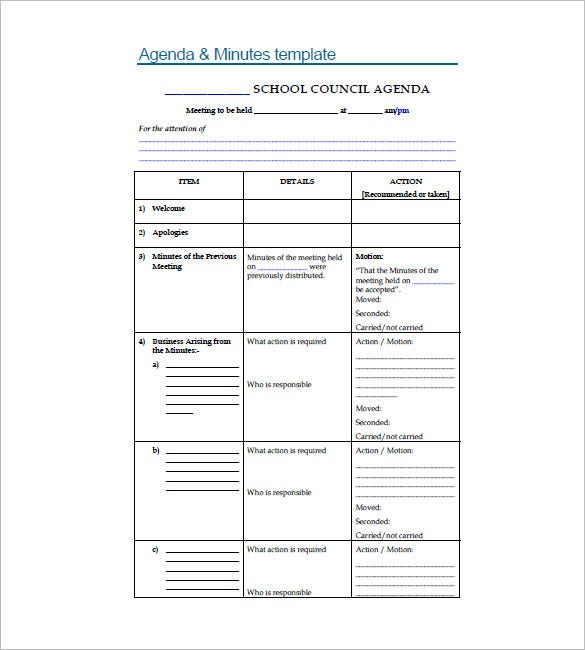 8+ School Agenda Templates - Free Sample, Example, Format Download ...