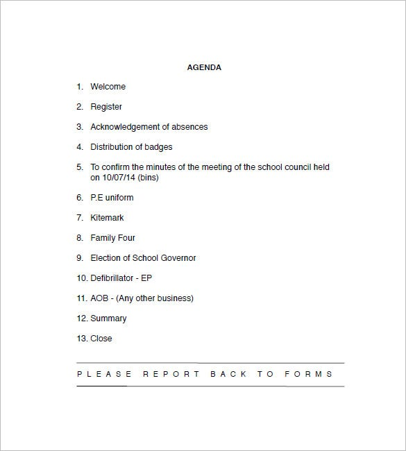 School Agenda Templates  Free Sample Example Format Download