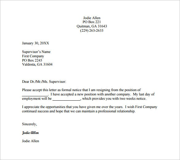 formal resignation letter for two weeks notice free pdf