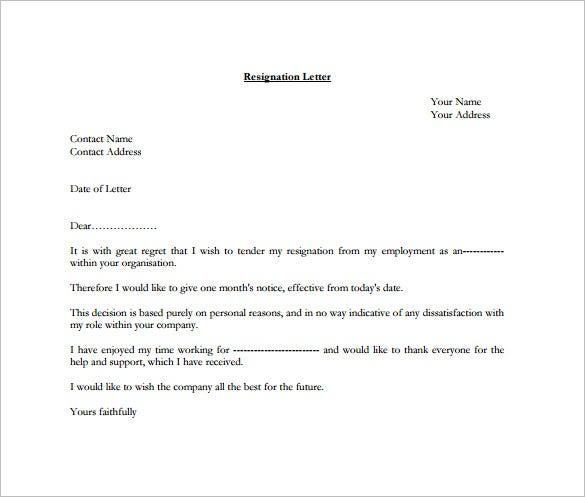 Example Resignation Letter For One Month Free PDF Template
