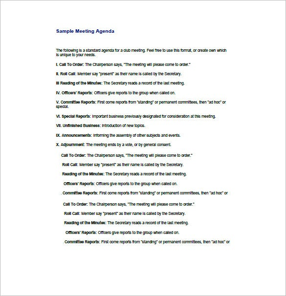 Business Agenda Template 8 Free Word Excel PDF Format – Business Meeting Agenda Format