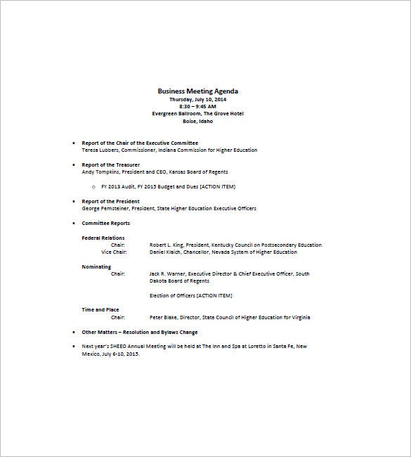 Business Meeting Agenda Format Download  Format For An Agenda