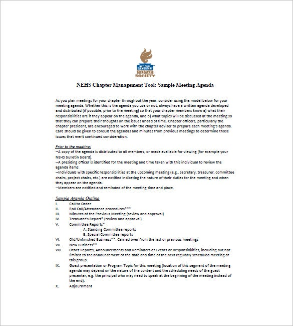 Sample Annual Business Meeting Agenda  Business Meeting Report Template