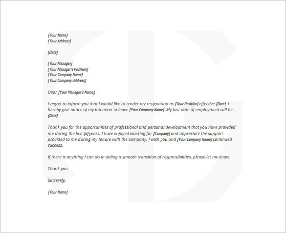 Formal Resignation Letter Template   Free Word Excel Pdf