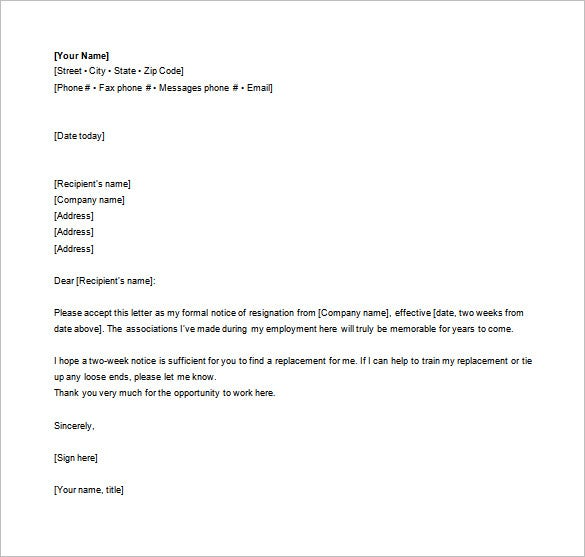 Editable Formal Resignation Letter Free Word Sample Download