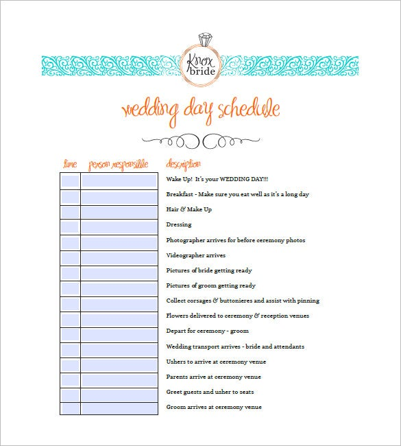9 wedding agenda templates free sample example format for Wedding day schedule of events template