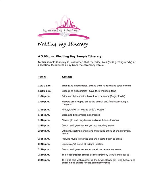free wedding itinerary template