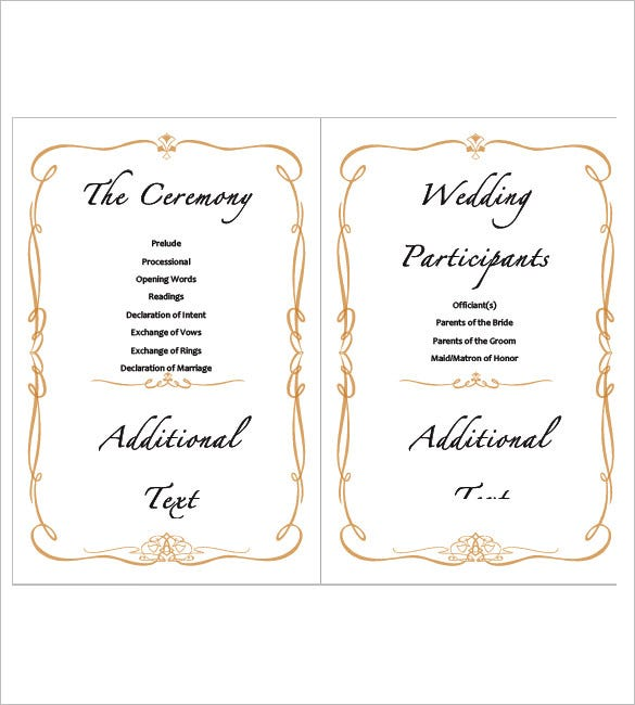 sample wedding agenda template