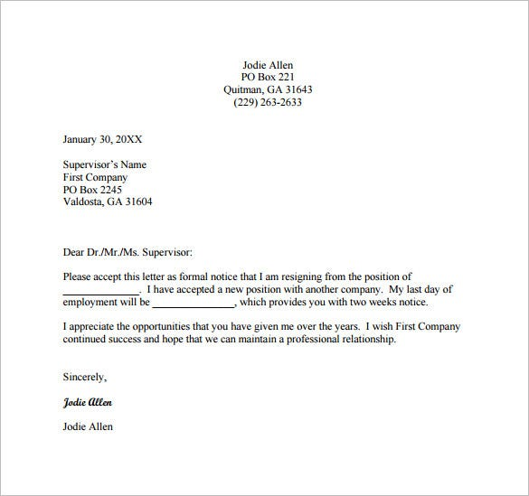 Nice Official Resignation Letter
