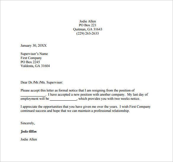 sample letter for resignation