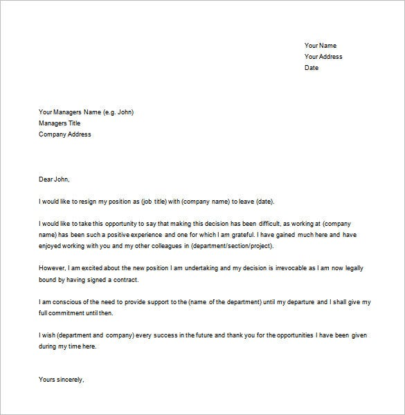 Job Resignation Letter Templates  Free Sample Example