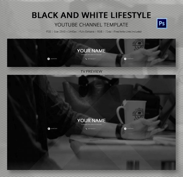 Black & White Background Lifestyle YouTube Banner
