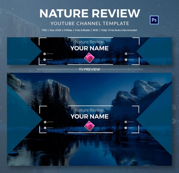 nature review youtube banner template