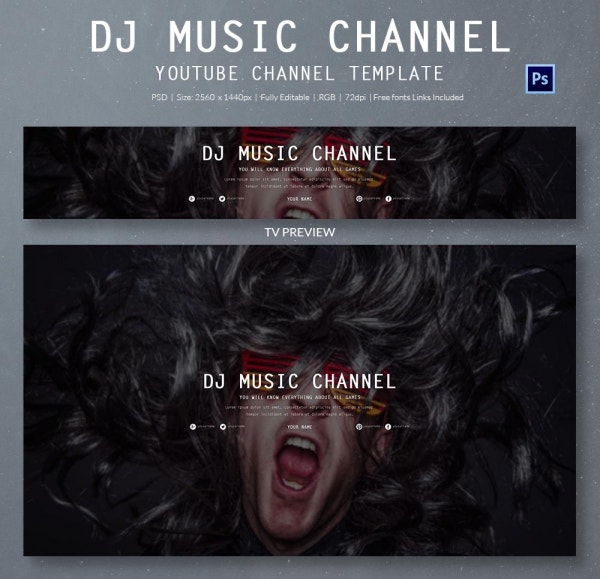 DJ Music YouTube Banner Template