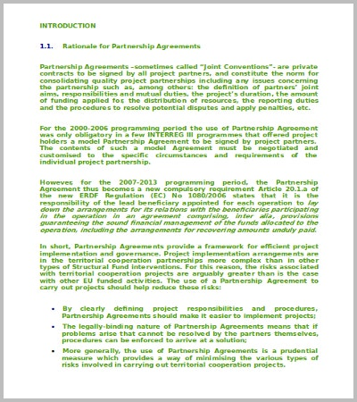 60 Agreement Template Free Word PDF Documents Download – Partnership Agreement Between Two Individuals
