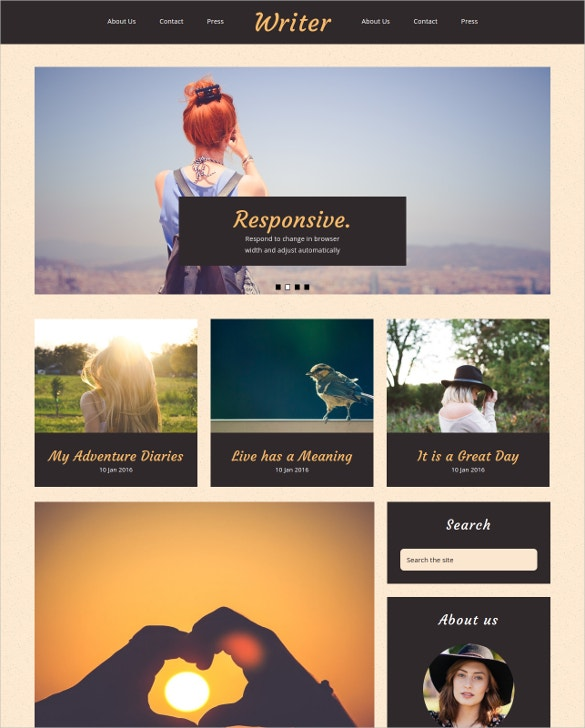 21 portfolio blog themes templates free premium for Free blogger templates for writers