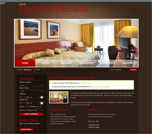 Professional Hotel site PHP Template
