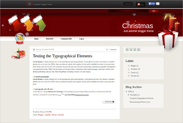 Christmas Typographic Blogger Template