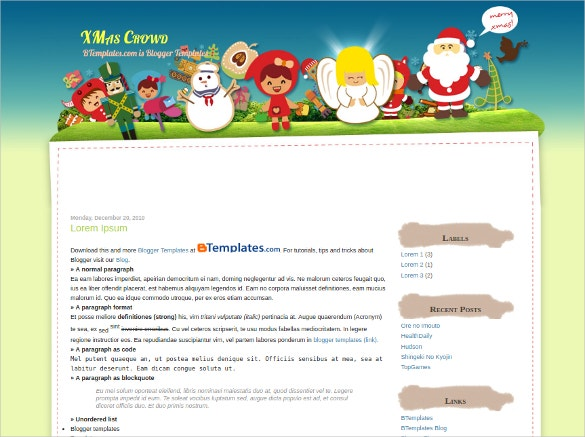 Christmas Crowd Blogger Template