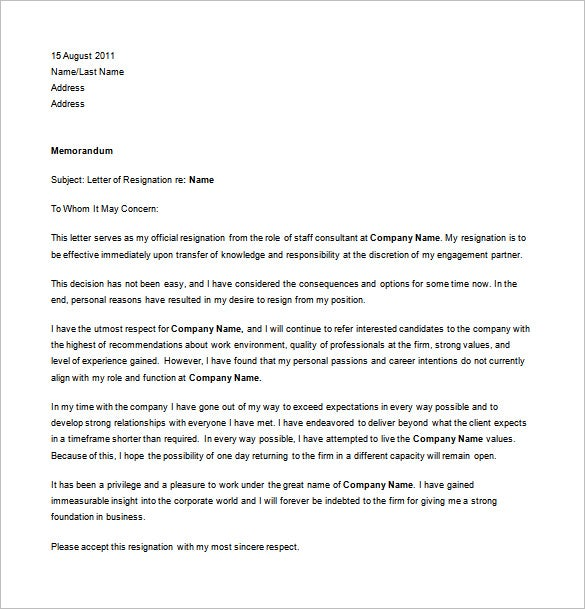 Professional Resignation Letter For Personal Reason Free Word Download