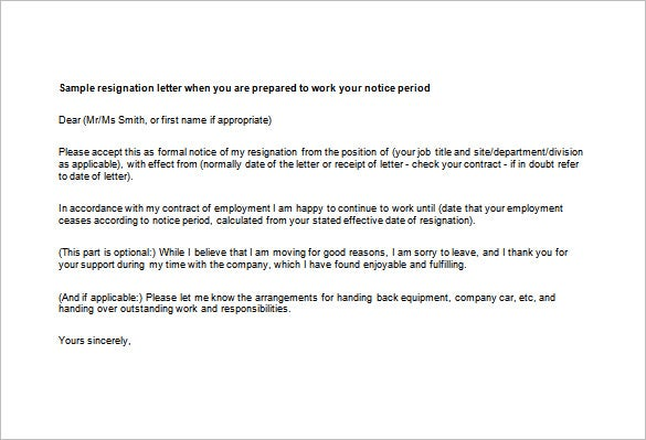 Professional Resignation Letter Templates 14 Free Word Excel – Sample of Professional Resignation Letter