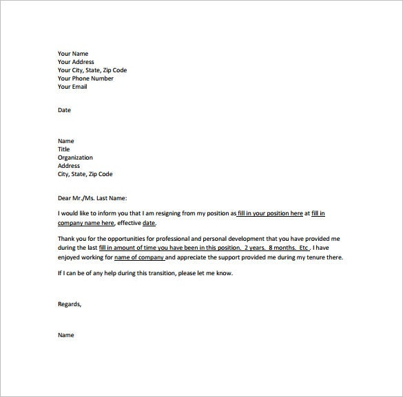 Professional Resignation Letter Template 10 Free Word Excel – Samples of Resignation Letters with Regret