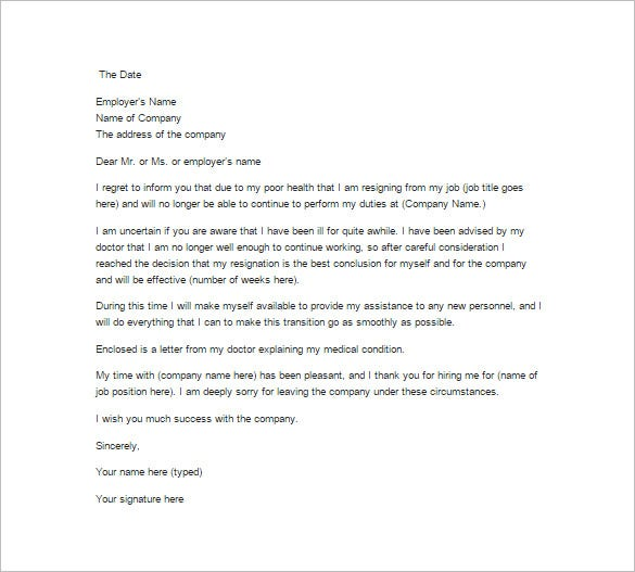job resignation letter due to health reason