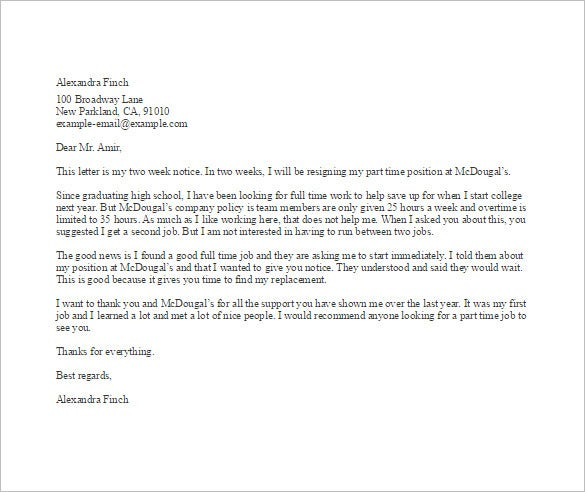part time job resignation letter sample template
