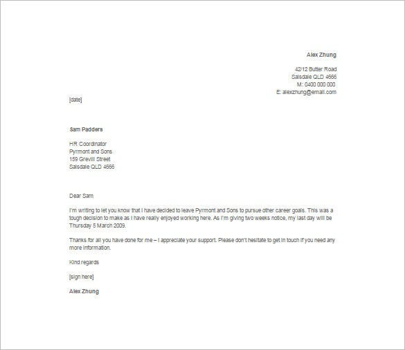 casual job resignation template free download