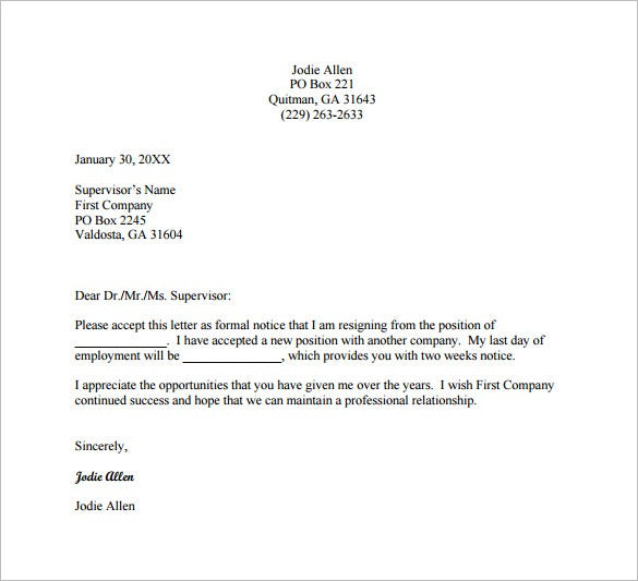 free job change resignation letter pdf download