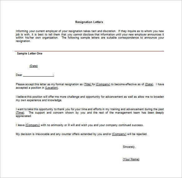 12 Job Resignation Letter Templates Free Sample Example – Resignation Letter Due to Another Job Offer