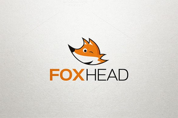 funny fox head logo