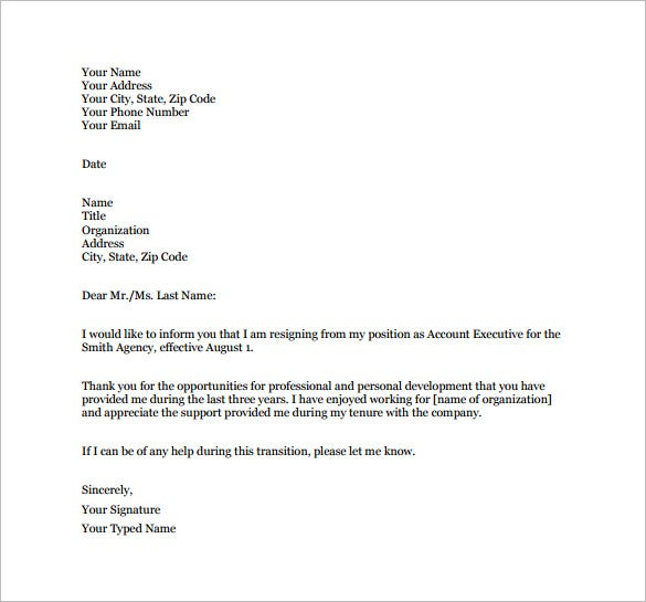 short notice job resignation letter free pdf template