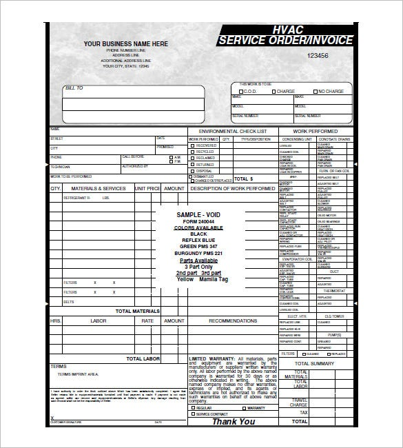 HVAC Invoice Templates Free Word Excel PDF Format Download - Hvac service order invoice template