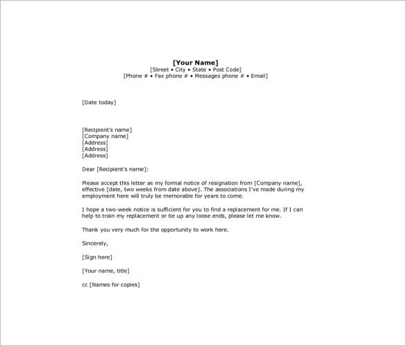 Two Weeks Notice Resignation Letter Templates 7 Free Word Excel