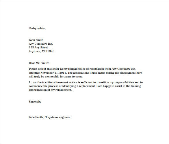 8 Two Week Notice Resignation Letter Templates Free Sample – Resignation Letter Free