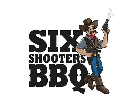 six shooter cowboy logo