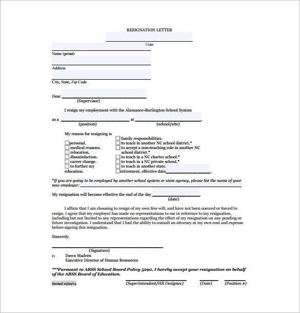 15 Job Resignation Letter Templates – Free Sample Example