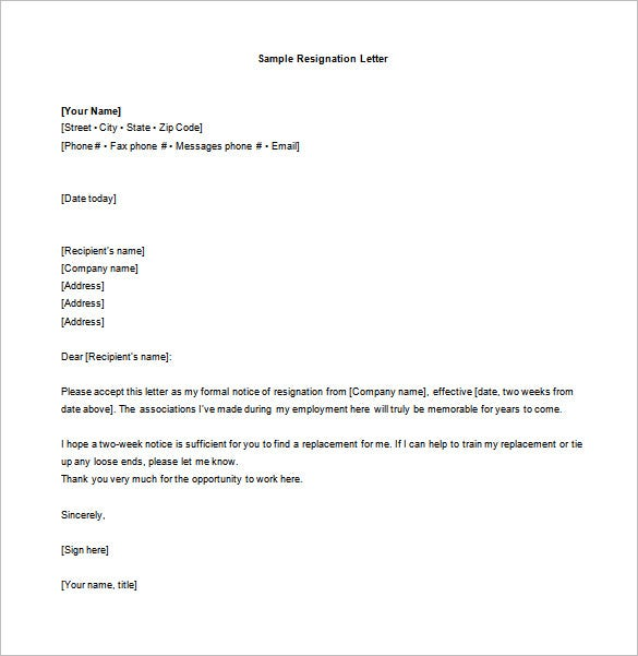 two week notice resignation letter templates sample two weeks notice resignation letter word format