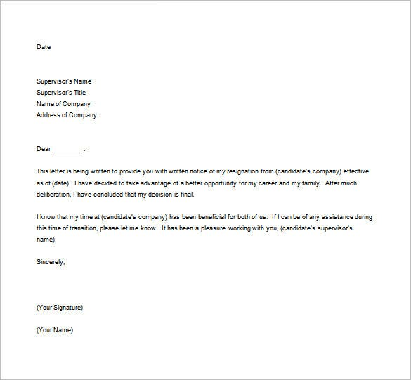 resignation letter format templates – free sample  example    sample resignation letter format template for better oppurtunity
