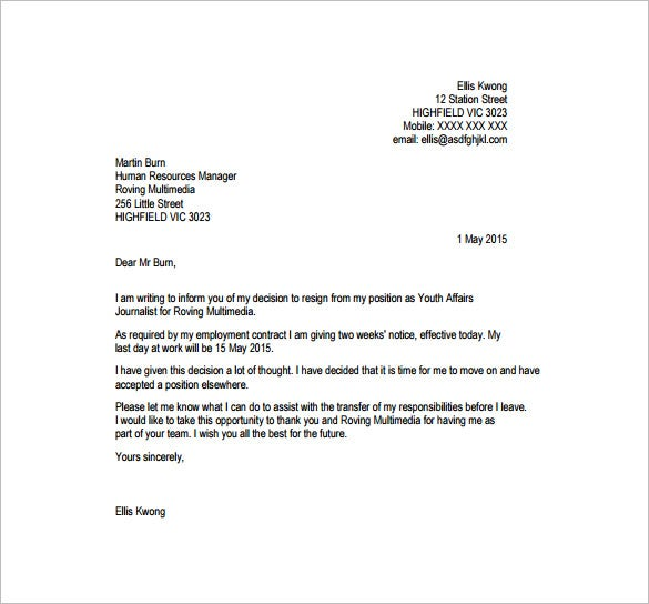 resignation letter format with notice period free pdf template
