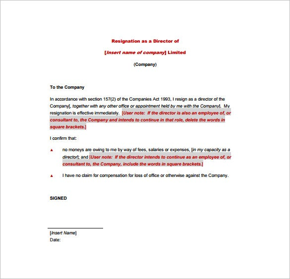 18 Example of Resignation Letter Templates Free Sample Example – Resignation Letter Free