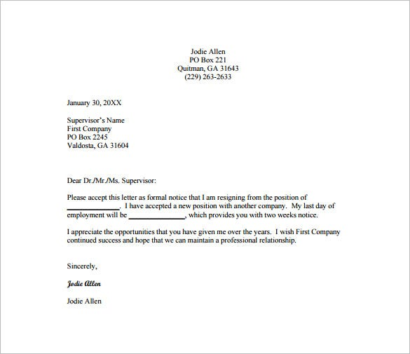 Sample Resignation Letter Better Opportunity
