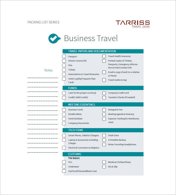 business trip agenda template