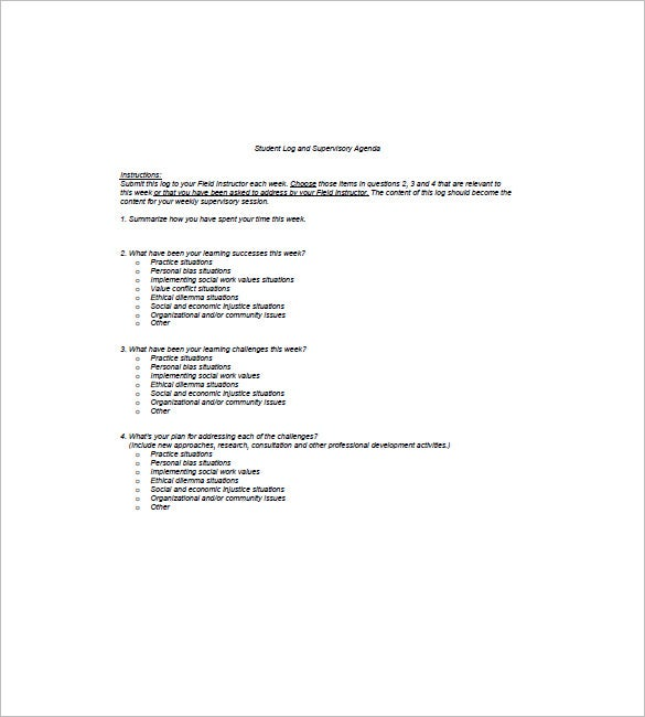 High School Student Agenda Template Example