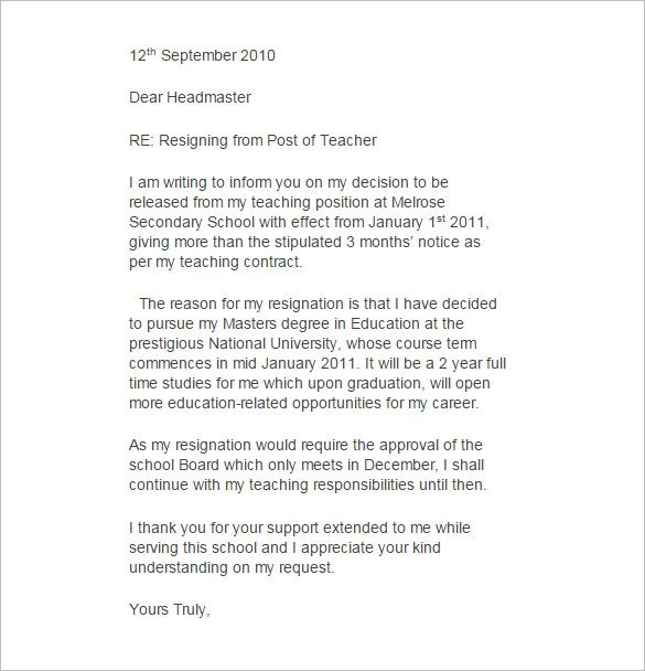 11 Teacher Resignation Letter Templates Free Sample Example – Resignation Letters Samples with Reasons