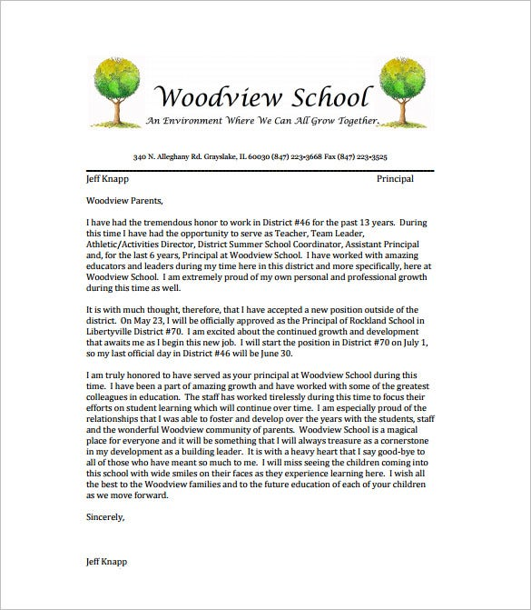 10 teacher resignation letter template free word excel pdf teacher resignation letter to families free pdf template expocarfo Choice Image