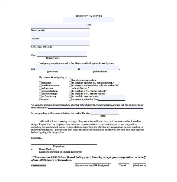 teacher resignation letter due for relocation free pdf format. Resume Example. Resume CV Cover Letter