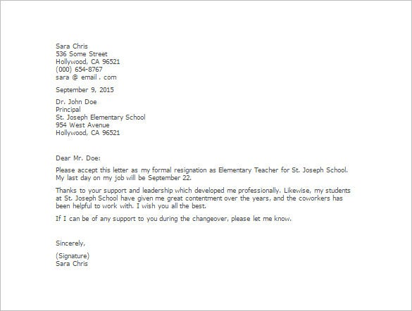 letter of resignation teacher 11 resignation letter templates free sample 11173 | Elementary Teacher Resignation Letter Template