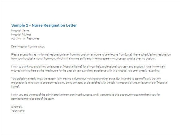 7 Immediate Resignation Letter Templates Free Sample Example – Letters of Resignation Nursing